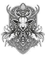 Ilustración cabeza de ciervo con adornos vintage vector