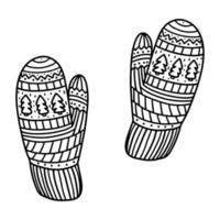 Knitted mittens with a cute winter pattern. Vector illustration