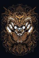 samurai head vector