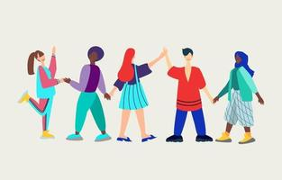 A group of young people of different nationalities demonstrating romantic and sexual attraction to others. polyamory, Heterosexual, gay, lesbian, bisexual orientation,. Flat vector illustration.