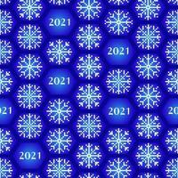 Seamless new year 2021 pattern Funny Christmas background with snowflakes for wrapping vector