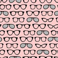 Seamless summer pattern with sunglasses for art design and advertising Cartoon colourful sunglasses  on pink background Summer vacation design with sunglasses for art design and advertising vector