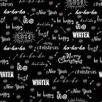 Seamless pattern with merry Christmas background calligraphic text holiday wishes vector