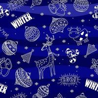 Seamless doodle hand drawn Christmas ball deer cow and snowflakes pattern on blue background vector