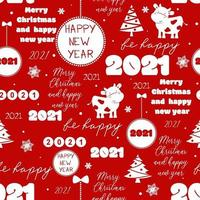Seamless new year 2021 pattern Funny Christmas background with congratulation and funny cow for wrapping vector