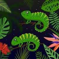 Cute cartoon chameleon with tropical leaves and flowers vector