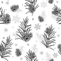 Cones and Christmas tree Seamless botanical hand drawn vector background