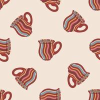 patrón transparente con tazas y tazas. linda vajilla de cerámica. diseño de textiles, menús, comedores, cafeterías y restaurantes. ilustración vectorial vector