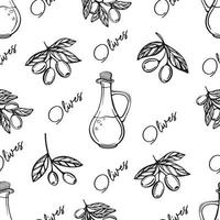 Olive oil seamless pattern. Olive branch pattern. Hand-drawn vector illustration