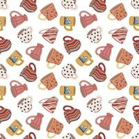 Seamless pattern with cups and mugs. Cute ceramic tableware. Design of textiles, menus, canteens, eateries, cafes and restaurants. Vector illustration