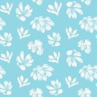 Saffron seamless pattern. Crocus flower on a blue background pattern. Hand-drawn vector illustration
