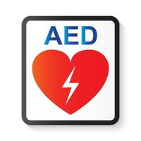 AED  Automated External Defibrillator   heart and thunderbolt  image for basic life support and advanced cardiac life support vector