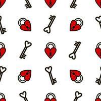 cerradura con patrón sin fisuras del tatuaje de la vieja escuela estilo clave. ilustración vectorial en estilo doodle. diseño para textiles, papel, envoltorios vector