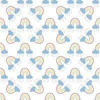 .Abstract rainbow with clouds and raindrops, doodles and circles in a seamless pattern. Childrens pattern in muted pastel colors. Hand-drawn vector illustration. Design for textiles, packaging