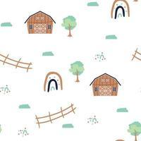 Cute brown barn green trees fence rainbow farm vector