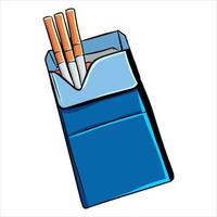 Cigarettes The harm from smoking A pack of cigarettes Cartoon style vector