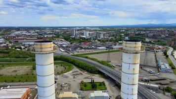 Drone Fly Over in the Middle of 2 Power Plant Pipes video