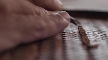 El tallador de madera macro corta el tablero de caoba con un cincel y hace un agradable sonido asmr video