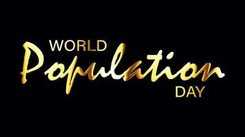 World Population Day text golden light loop isolated video