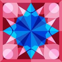 This is a blue and pink geometric polygonal kaleidoscope pattern vector