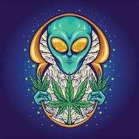 Alien Weed Plant Cannabis Galaxy Space illustrations vector