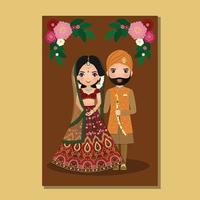 Wedding invitation card the bride and groom cute couple in traditional indian dress cartoon character vector