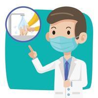 médico con mascarilla advierte al público siempre lavarse las manos para mantenerlas limpias vector