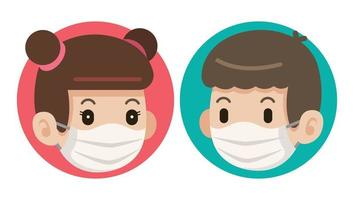 A pair of cute kids wearing protective face masks vector