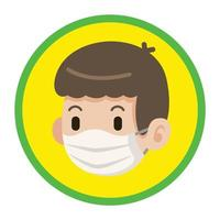 Cartoon male kid wearing protective face mask on yellow circle with green stroke vector