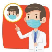 médico con mascarilla protectora aconseja al niño que use mascarilla vector