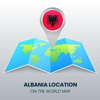Location Icon Of Albania On The World Map, Round Pin Icon Of Albania vector