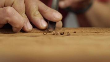 Woodcarver With a Chisel Cuts a Tea Board Mahogany ASMR Sound video