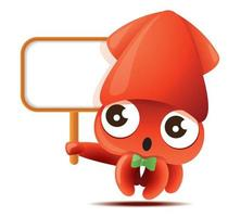 Cartoon cute squid with bowtie holding a empty white board vector