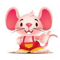 Cartoon cute rat with teeth showing big thumb up vector