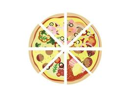 Pizza sliced assorted isolated on white background Top view Vector illustration