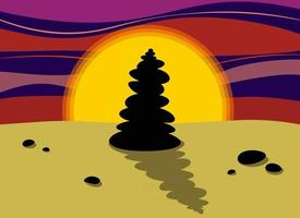 Silhouette of a pyramid of stones at sunset Rocks cairn on the sand Harmony and balance concept Vector illustration