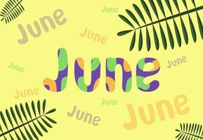 hola ilustración de vector de mes de junio