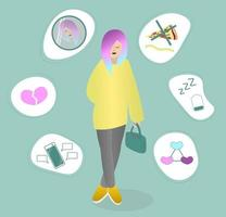 Teenager and problems Girl with multicolored hair thinking about her troubles Young woman in despondency and anxiety Vector illustration