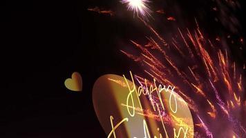 glücklicher Familientag Kalligraphie Gold Text Feuerwerk Schleife video