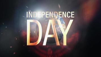 boucle cinématographique hitech futuriste texte doré de la fête de l'indépendance video