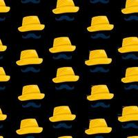 Seamless pattern with straw hat vector