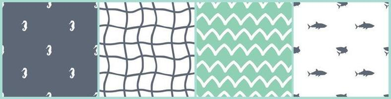 Sea horses sharks fishing net and waves seamless patterns Vector cartoon set of underwater ocean sea illustrations in blue green white colors