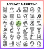Affiliate marketing concept line icons vector