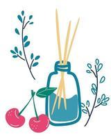 aromaterapia establece palos de aroma de madera en frasco de vidrio con olor a cerezas palos de fragancia de aire esencial spa de aromaterapia y dibujos animados de belleza ilustración vectorial plana aislada vector