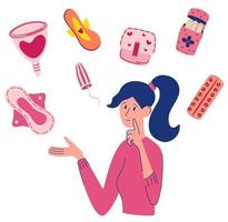 Menstruation pms woman composition Young woman choosing between sanitary pad tampon and menstrual cup Menstruation first period Personal feminine hygiene items Vector flat Illustration