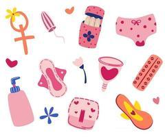 productos de higiene femenina artículos período menstrual conjunto de imágenes dibujadas a mano copas menstruales tampón anticonceptivos almohadillas bragas corazones ilustración vectorial artículos para la menstruación aislado vector