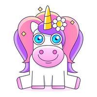 hermoso unicornio con estrellas ilustración linda pequeña rosa foto