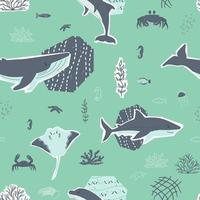 Cute whale shark stingray seahorse crab fish dolphin animals and corals algae seamless pattern vector