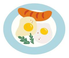 Fried eggs and fried sausage on plate Breakfast time Homemade english breakfast Cartoon flat style Vector illustration