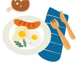 Fried eggs Scrambled egg Plate fork and knife Breakfast serving The breakfast vector concept Vector illustration for menu shop truck restaurant cafe bar poster breakfast banner sticker